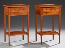 Pair of Louis Philippe Carved Cherry Nightstands, early 20th c., the dished tops over two frieze drawers, above a long lower drawer,...