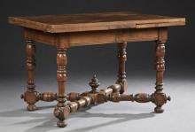 French Neoclassical Style Carved Mahogany Draw Leaf Dining Table, c. 1900, the parquetry basket weave top over a wide skirt, on turn...
