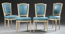 Set of Four Louis XVI Style Polychromed Beech Upholstered Side Chairs, 20th c., the arched upholstered backs to upholstered bowed se...