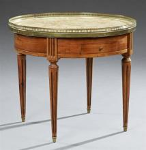 Louis XVI Style Carved Mahogany Marble Top Bouillotte Table, 20th c., the pierced brass galleried highly figured ocher circular marb...