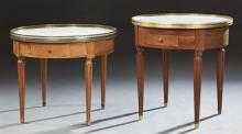 Pair of Carved Mahogany Louis XVI Style Marble Top Low Bouillotte Tables, 20th c., by Haentges Freres, Paris, the galleried circular...