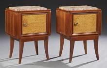 Pair of French Art Deco Carved Walnut Marble Top Nightstands, 20th c., the inset highly figured ocher marble over a cupboard door, o...