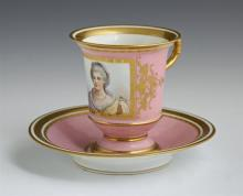 Sevres Porcelain Portrait Cup of Madame Des Houlieres, early 19th c., with gilt decoration and ram''s head handle, on a pink ground, ..