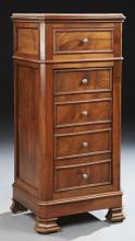 French Carved Walnut Marble Top Nightstand, 19th c., the inset canted corner figured white marble over a frieze drawer and a four fa...