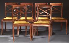 Set of Six French Empire Style Carved Cherry Dining Chairs, 20th c., the curved tablet crest rails over pierced X-form backs above t...