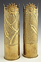 Pair of Brass Trench Art Vases, c. 1918, marked