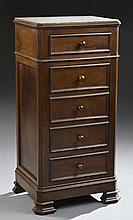 Louis Philippe Style Carved Walnut Marble Top Nightstand, c. 1920, the inset canted corner figured white marble over a frieze drawer...