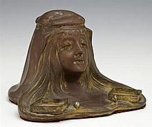 Art Nouveau Copper Patinated Spelter Figural Inkwell, c. 1900, the maiden with flowing hair on a base with fitted spaces for glass i...