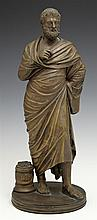 Bronze Figure of a Greek Philosopher, late 19th c., on an integral stepped circular base, H.- 13 in., Dia.- 5 1/8 in.