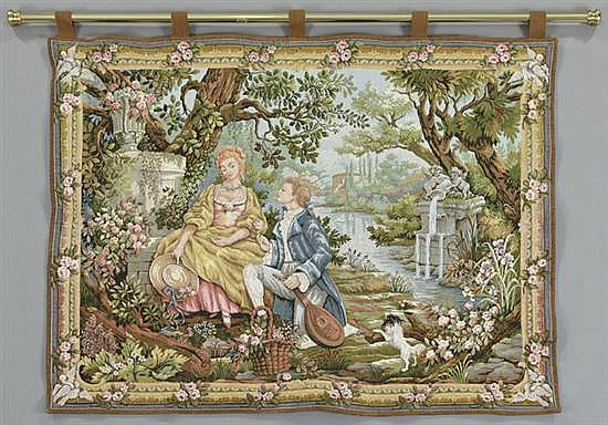 Marc waymel jardin d 39 amour 20th c tapestry made by th for Jardin d amour wine