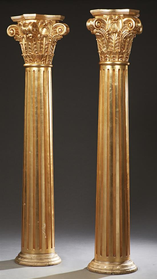 Pair of french carved giltwood corinthian columns th c