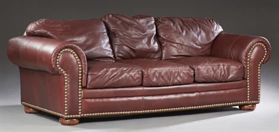 cordovan leather three seat sofa 20th c by viewpoint leat