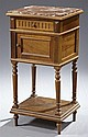 Henri II Style Carved Walnut Marble Top Night Stand, early 20th c., the inset rouge highly figured marble over a reeded front frieze...