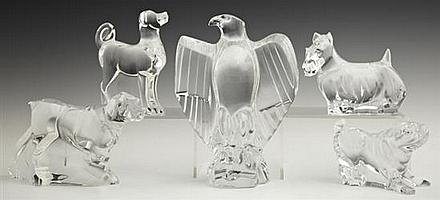 Baccarat Crystal Paperweights, 20th c., consisting of four dogs and an eagle. (5 Pcs.)