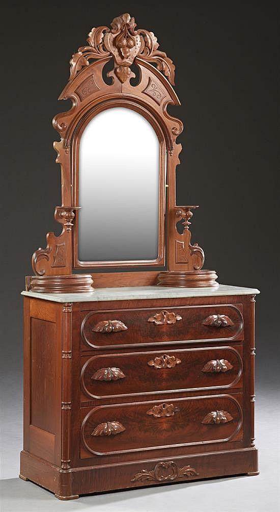 American Eastlake Carved Walnut Marble Top Dresser C 1890