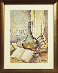 """†Sig Gruenwald (Memphis, 1915-1996), """"Chanukah Preparations,"""" 1972, watercolor, signed and dated l.r., framed, H.- 19 1/2 in., W.- 13.."""
