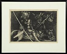 "†Marcello Grassmann (1925-2013, Brazil), ""Warriors on Horseback,"" 20th c., etching, 6/25, pencil numbered l.l. margin, pencil signed..."
