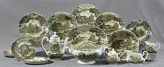 Seventy Piece English Ironstone Partial Dinner Service, 20th c. by Royal Essex, in the