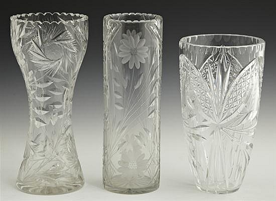 Group of Three Cut Crystal Vases, 20th c., one waisted example, one of cylindrical form, and one with a flaring rim, Tallest- H.- 12...