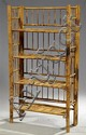 Unusual Bamboo Folding Bookshelf, early 20th c., each of the four shelves and the sides pivoting to fold flat, H.- 51 1/2 in., W.- 2...