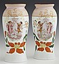 Pair of Bohemian Polychromed White Opal or