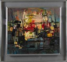 """†Tano DeSimone, """"Risveglio,"""" 20th c., oil on canvas, signed l.r., presented in a double chrome plexiglass frame, H.- 19 1/2 in., W.-..."""