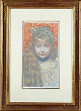 """Maurice Eliot (1864-1945, French), """"Tete de Filette,"""" 1897, color lithograph, pencil signed l.l., presented in a gilt and polychrome..."""
