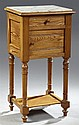 Louis Philippe Styler Pitch Pine Marble Top Nightstand, c. 1880, the inset white marble over a frieze drawer and a lower cupboard, o...