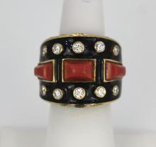 David Webb Bastille Ring Coral Enamel Diamonds
