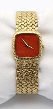 Estate Piaget Coral Faced 18K rare Ladies Wristwatch