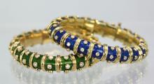 Tiffany Schlumberger Blue Enamel Diamond Bracelet
