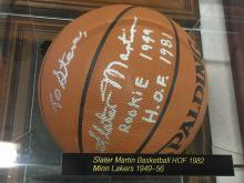 Signed Basketball Slater Martin Hall of Fame
