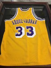 Signed Jersey Kareem Abdul Jabbar LA Lakers Hall of Fame 1995