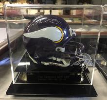 Mini Signed Vikings Helmet Fran Tarkenton Hall of Fame 1986