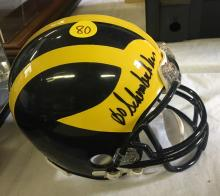 Michigan Wolverines Mini Helmet Signed by Coach Bo Schembechler