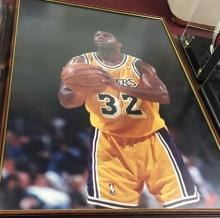 Large Magic Johnson LA Lakers  Photograph Poster Framed