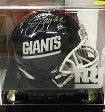 Autographed Mini Helmet Lawrence Taylor HOF 1999 NY Giants 1981-93