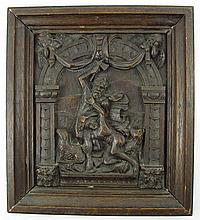 Wood relief with a scene from the Old Testament - Abraham sacrifices Isaac