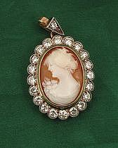 Cameo and diamond pendant