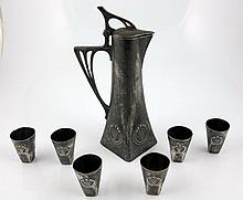 Art nouveau pewter liqueur set for six