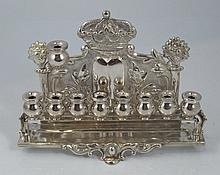 Austrian silver Hanukkah oil lamp with Torah crown