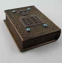 Jewish prayer book with turquoise inlaid brass cover