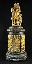 Large antique Hungarian silver and ivory tankard with Bacchanalia scenes