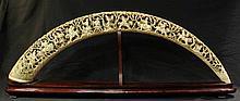 Large Chinese openwork ivory tusk