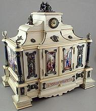 Viennese silver, ivory and painted enamel decorated jewellery box by Hermann Böhm