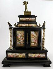 Viennese gilt-metal and enamel-mounted ebonized jewellery casket