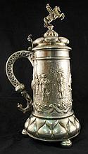 Large German silver renaissance style hunting tankard