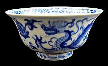 Ming style blue and white glaze porcelain bowl