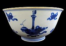 Blue and white glazed porcelain bowl. Ming dynasty, Kangxi period