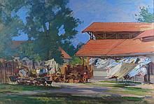 Timur Karim (tajikistanian,1968 -): Market at Hortobágy